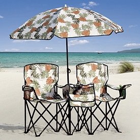Portable Beach Chair and Umbrella Set