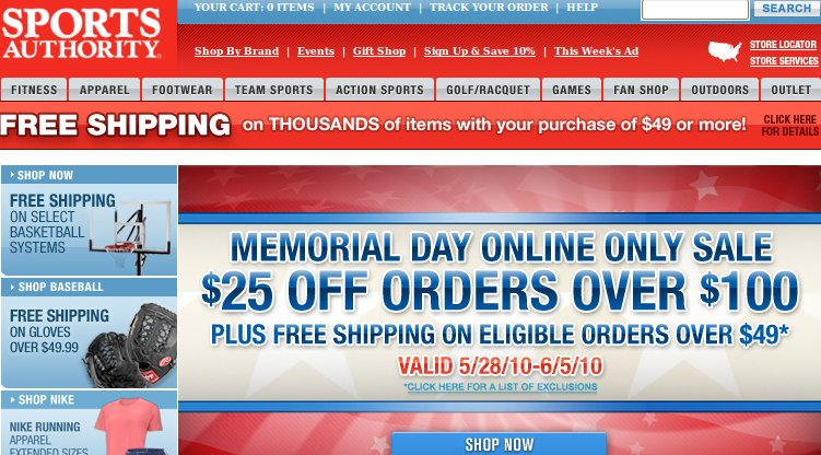 Sports Authority $25 off coupon