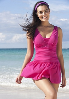 V-neck plus size swimdress
