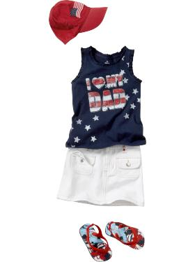 The Americana Graphic Tank & Embroidered Stars Denim Mini