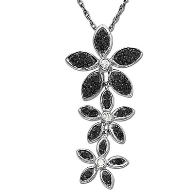 Black and White Diamond Flower Pendant