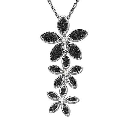 Black and White Diamond Flower Pendant