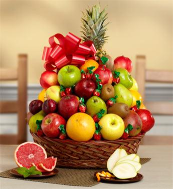 Fresh Fruit & Candy Gift Basket
