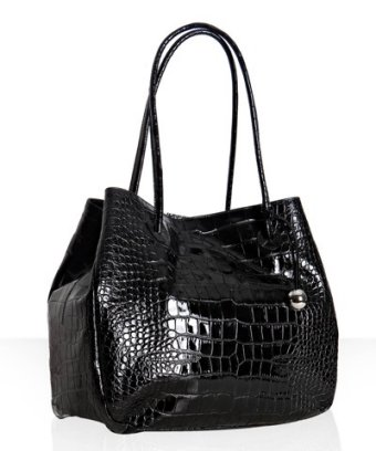 Furla black croc embossed leather 'Giselle' tote