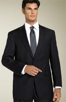 Hart Schaffner Marx 'Gold Trumpeter' Navy Stripe Suit