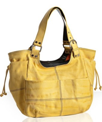 Sondra Roberts yellow leather 'Robyn' front pocket tote