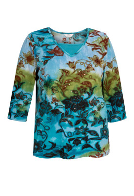 Tie Dye Floral Print 2-Fer