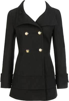 Black Rivet Funnel Neck Tiered Bottom Peacoat