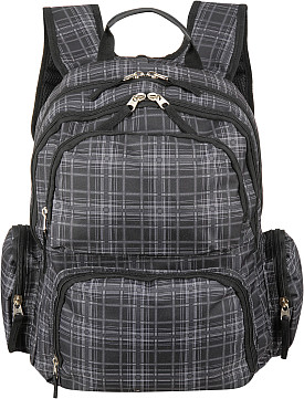Black Rivet Plaid Print Backpack