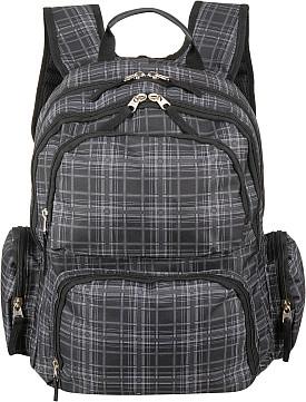Black Rivet Plaid Print Backpack