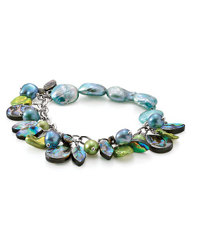Cultured pearl dangle bracelet