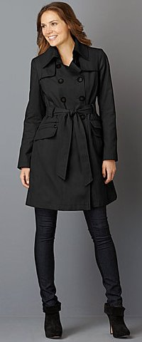 DKNY Abby Double-Breasted Belted Trench Coat