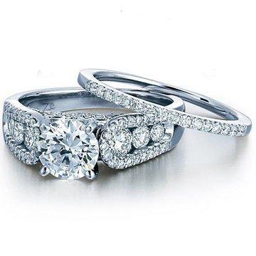 Diamond Fancy Bridal Set in 18K White Gold