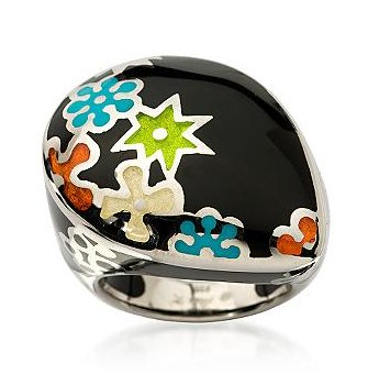 Enameled Sterling Silver Flower Ring