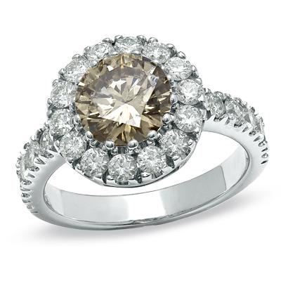 Enhanced Cognac and White Diamond Frame Ring in 14K White Gold
