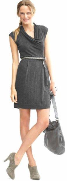 Herringbone cowl dress