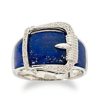Lapis Ring With Diamond Accent