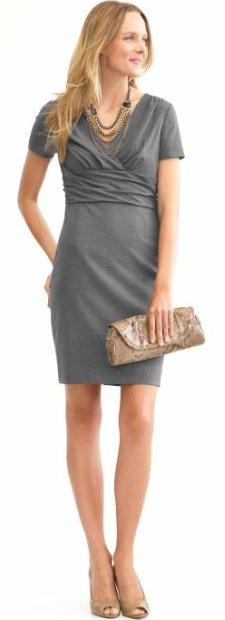 Lightweight wool charcoal sheath dress
