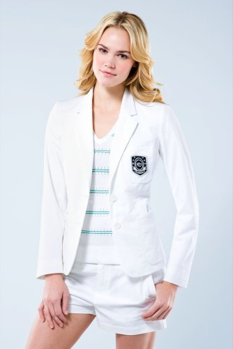 Long Sleeve Seersucker Striped Logo Blazer