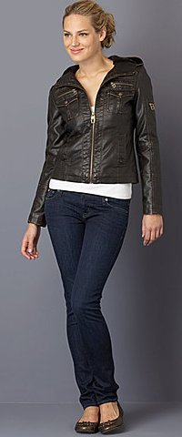 MISS SIXTY Hooded Faux-Leather Motorcycle Jacket