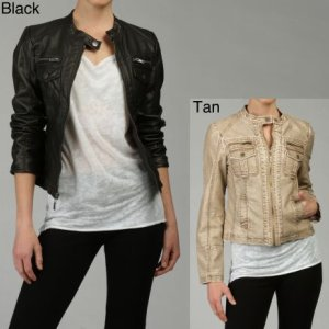 Miss Sixty Womens Faux Leather Motocross Jacket