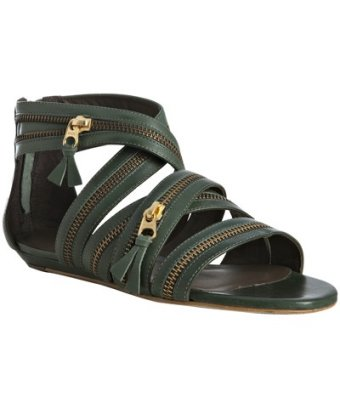 Pour la Victoire green leather Dalena zip detail flat sandals