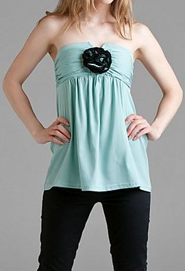Prairie NY Mint Strapless Silk Top