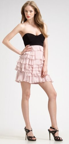 ABS Strapless Ruffled Mini Dress