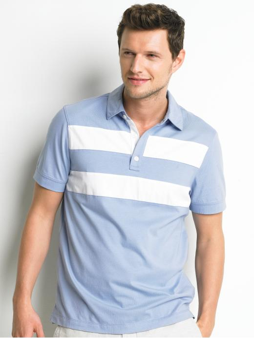 Pima cotton double-stripe polo