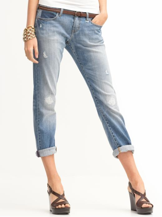 Heritage light busted boyfriend roll-up jean