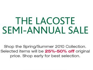 lacoste semi annual sale