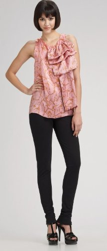 M Missoni, Ruffled Silk Racerback Blouse