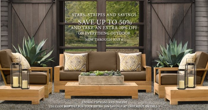 Restoration Hardware July 4th Savings Save Up To 50