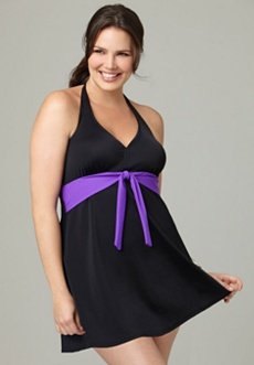 Tie Front Halter Swim Dress