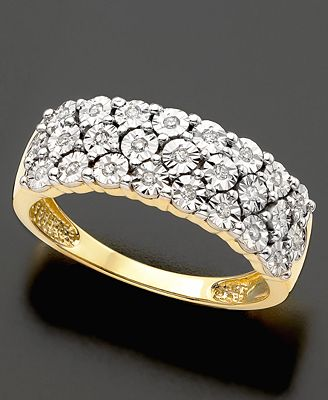 14k Gold Ring - Diamond Three Row Band