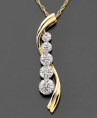 14k Two-Tone Gold Diamond Accent Journey Swirl Pendant