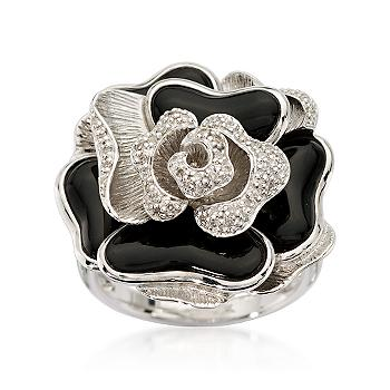 Black Agate and Diamond Rose Ring In Sterling Silver