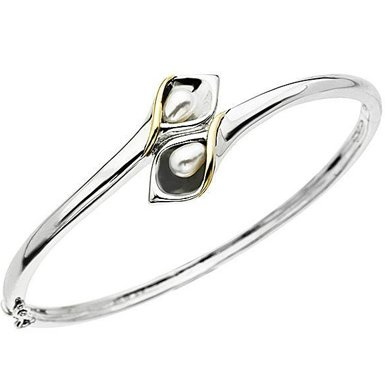 Cultured Freshwater Pearl Calla Lily Wrap Bangle Bracelet