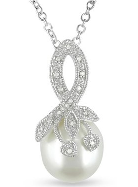 Cultured Freshwater Rice Pearl and Diamond Pendant in Sterling Silver