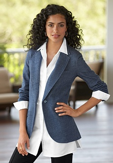 Denim Sweatshirt Blazer