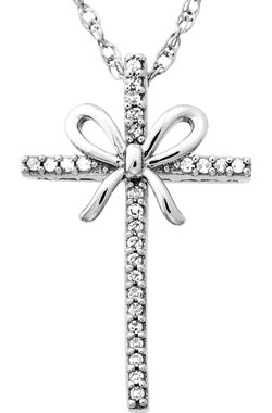 Diamond Accent Cross with Bow Pendant in Sterling Silver