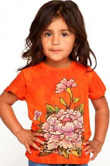 Ed Hardy Little Girls Mum Flower Marble Tee