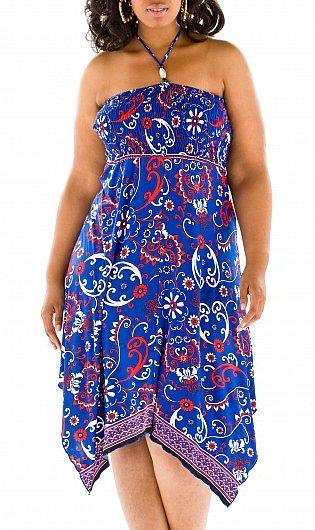 Floral Scarf Print Halter Dress