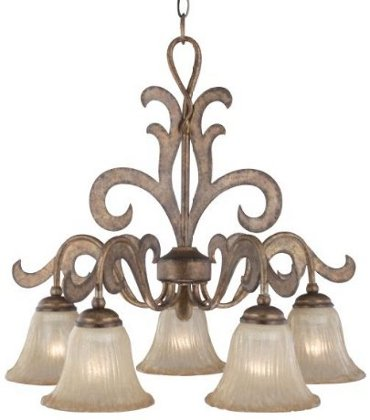 Hampton Bay Autumn Harvest Collection Harvest Gold Finish 5 Light Chandelier