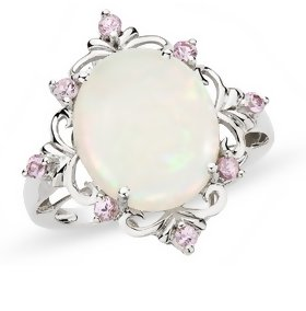 Opal & Pink Sapphire 14K White Gold Ring