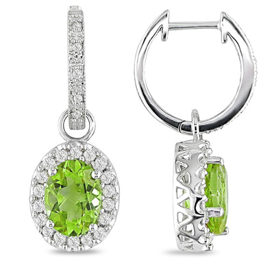 Oval Peridot Drop Earrings