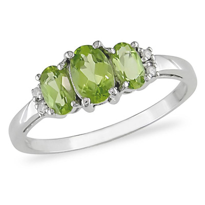 Oval Peridot Three Stone Ring