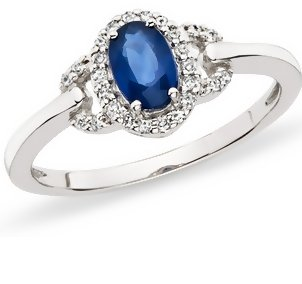 Sapphire & Diamond 14K White Gold Ring