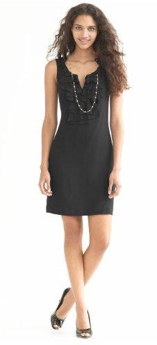Silk blend ruffle front dress