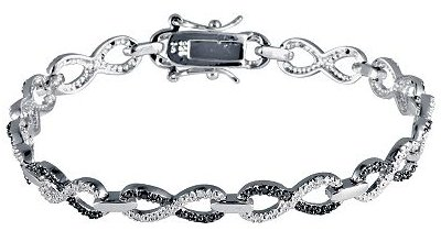 Sterling Silver Black & White Diamond Infinity Bracelet
